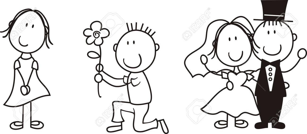 Satz Von Isolierten Paar Cartoon Ideal Fur Funny Hochzeit Einladung