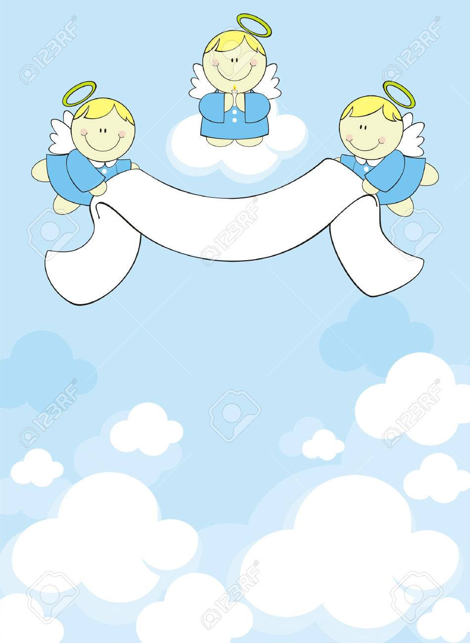 three little angels with ribbon banner on clouds background Stock Vector - 7227600