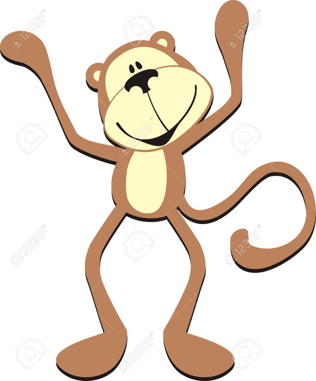 isolated cartoon greeting monkey Stock Vector - 8017341