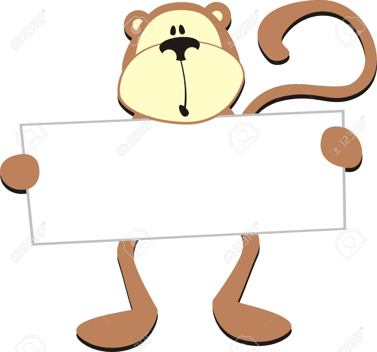 dim monkey with blank board for copy space Stock Vector - 8017345