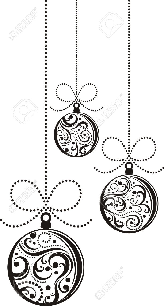 isolated christmas balls with scrolls ornaments Stock Vector - 8128759