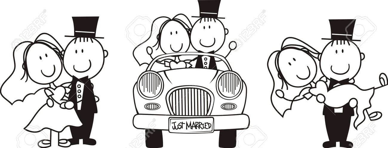 Set Of Isolated Cartoon Couple Scenes Ideal For Funny Wedding