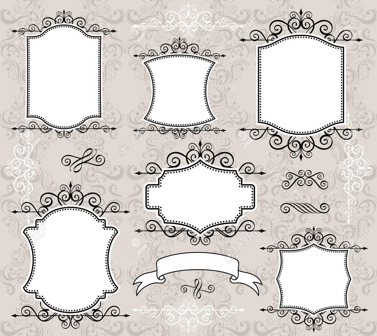 Conjunto De Etiquetas O Marcos Retro Y Elementos De Diseño Para Sus ...