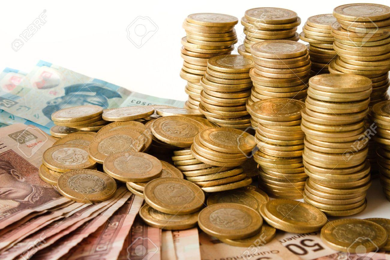 Viele Mexikanische Pesos Geld Münzen Und Banknoten Lizenzfreie