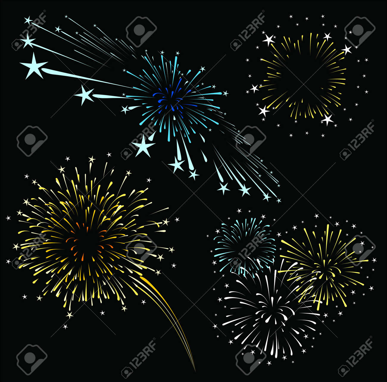 set of fireworks isolated on black background,  format very easy to edit, solid colors whitout gradients Stock Vector - 15160511