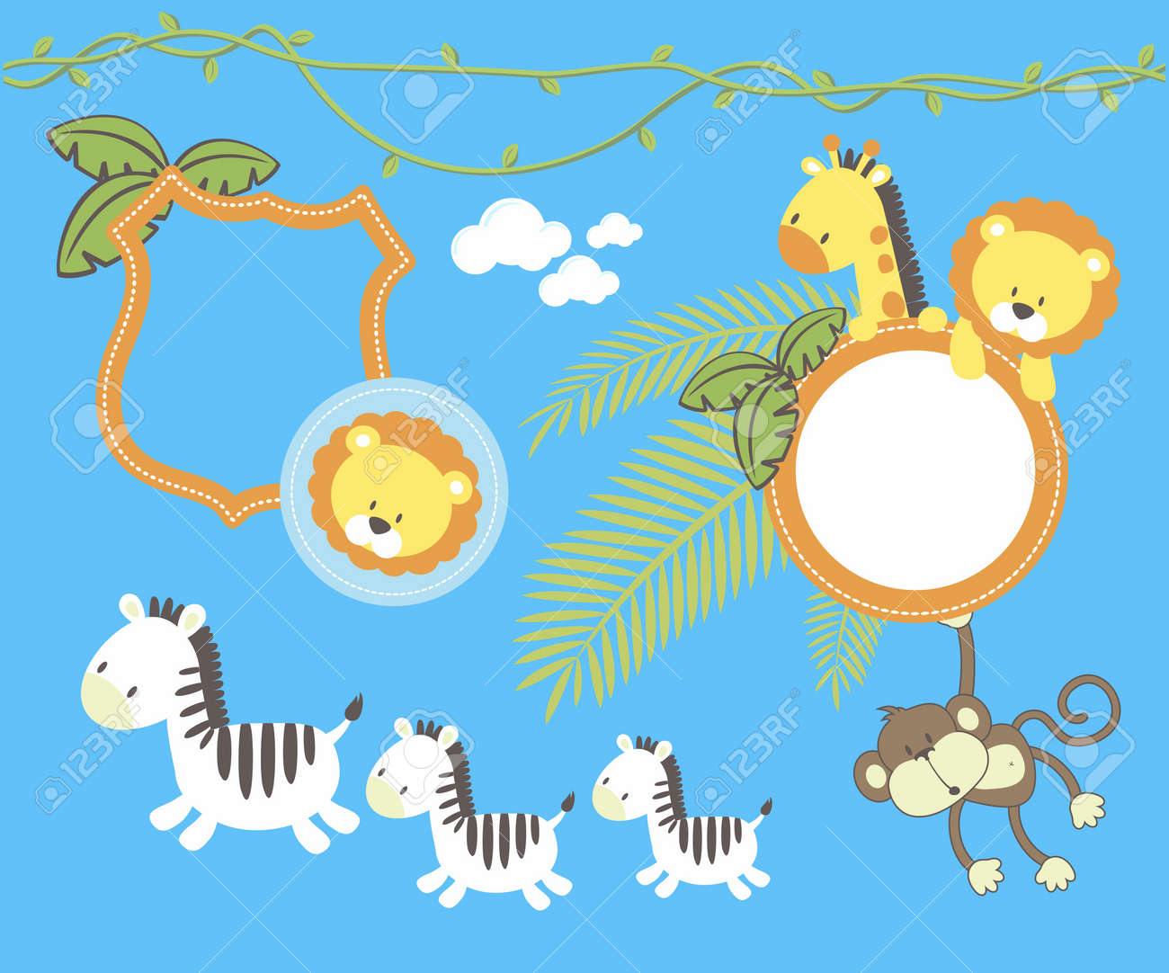 set of cute jungle animal cartoon, frames and design elements  isolated on blue background, individual objects very easy to edit Stock Vector - 15514518