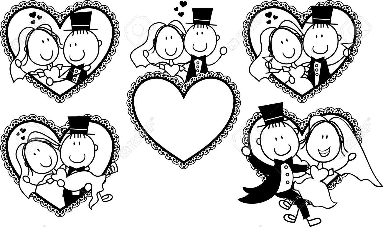 Satz Von Isolierten Cartoon Paar In Herzform Rahmen Ideal Fur