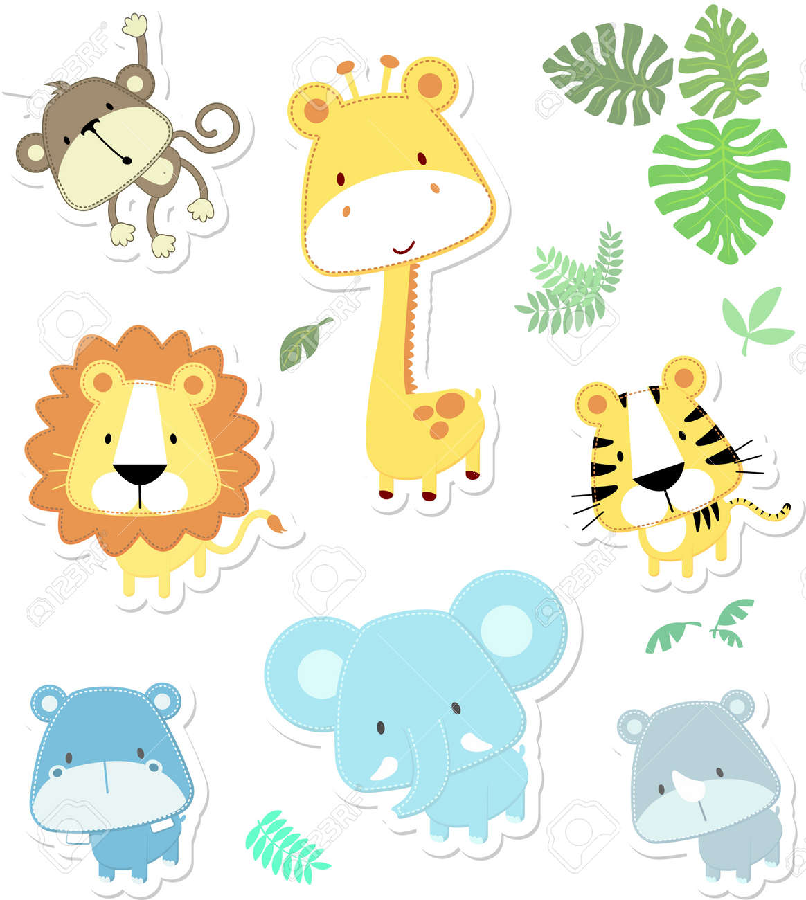 vector cartoon illustration of seven baby animals and jungle leaves, individual objects very easy to edit, ideal for childs decoration Stock Vector - 15751664