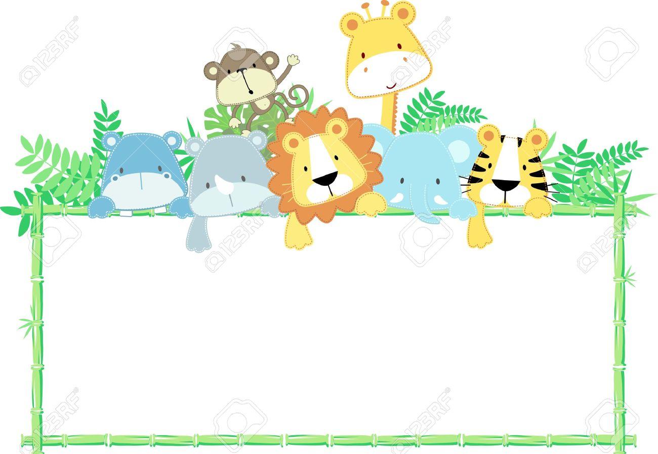 空白記号の付いたかわいいジャングル動物の赤ちゃんのベクトル イラスト