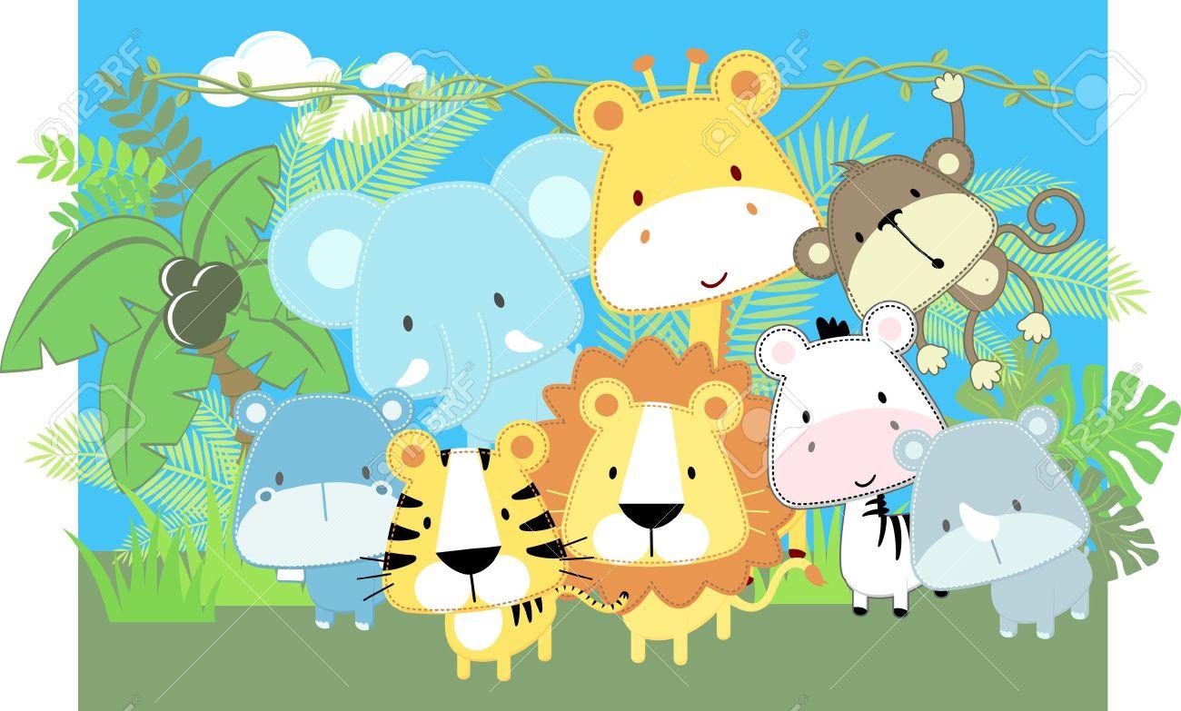 かわいいジャングル動物の赤ちゃんとジャングル植物のベクトル イラスト