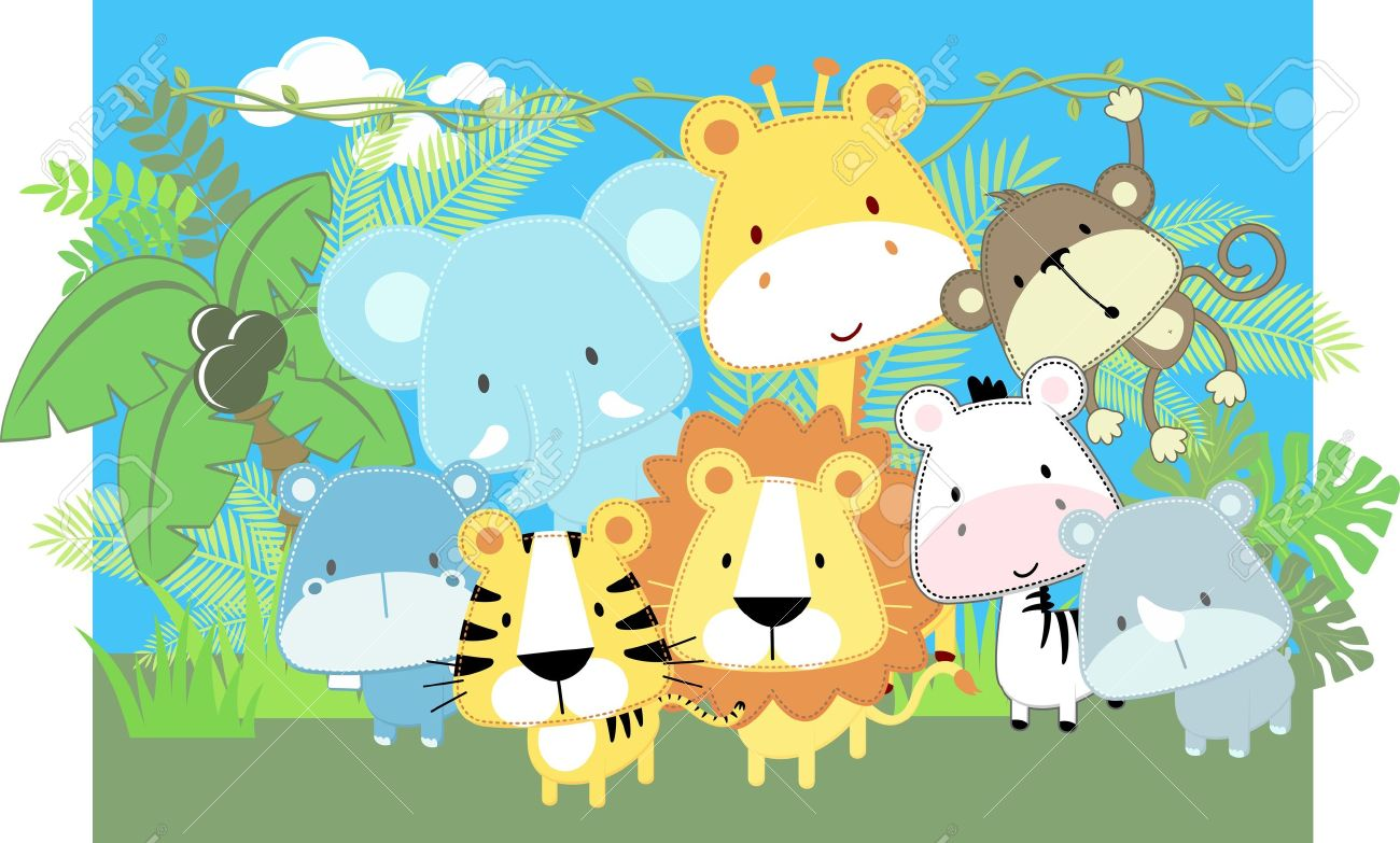 Vector Illustration Of Cute Jungle Baby Animals And Jungle Plants ...