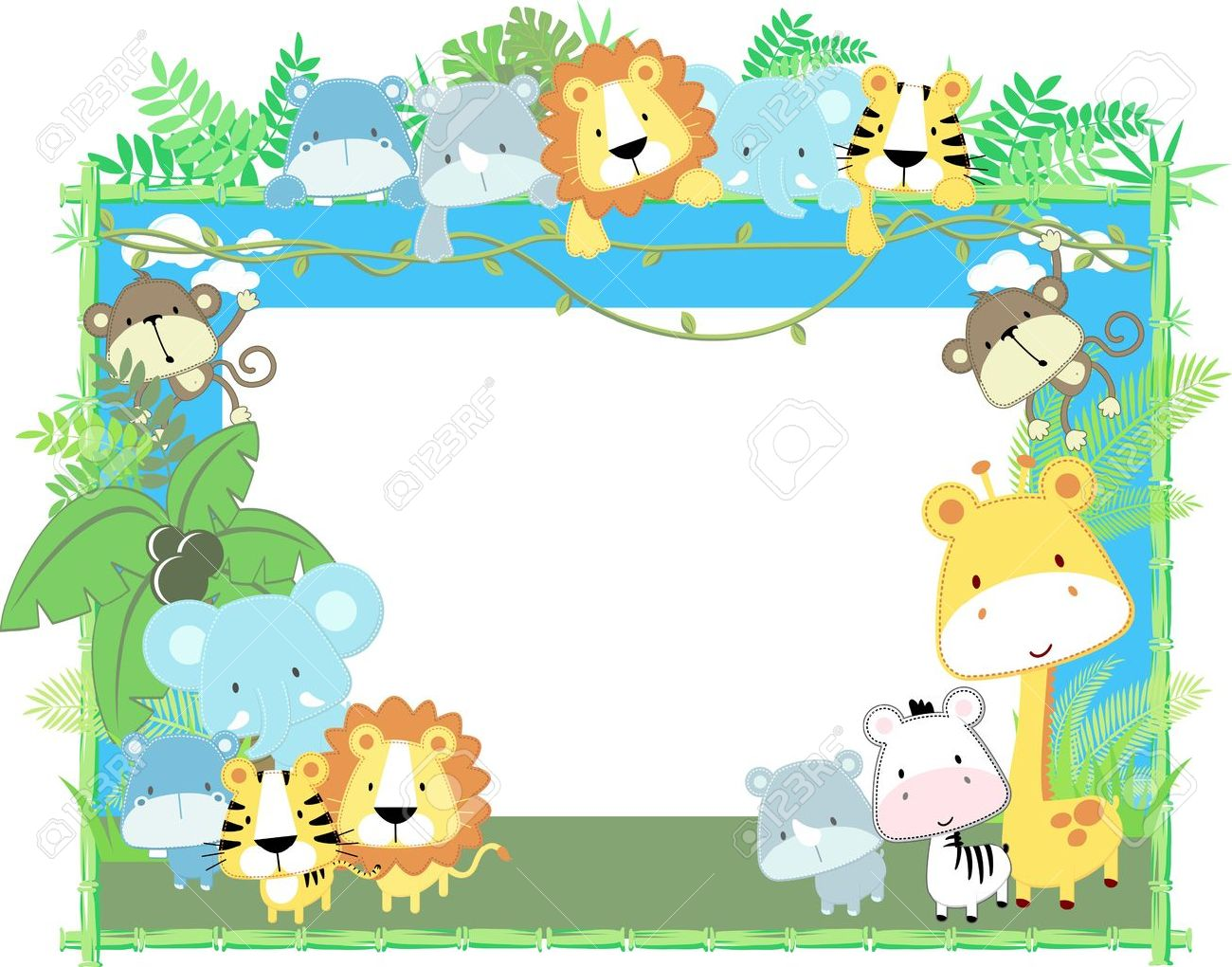 Safari Animal Wallpaper Wall Art Border Jungle Zoo Decal Sticker ...