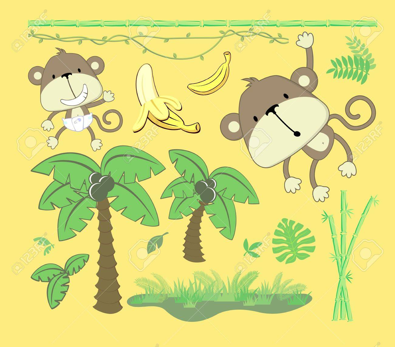 vector image of jungle theme, cartoon design elements set for baby and childs decoration Stock Vector - 15834138