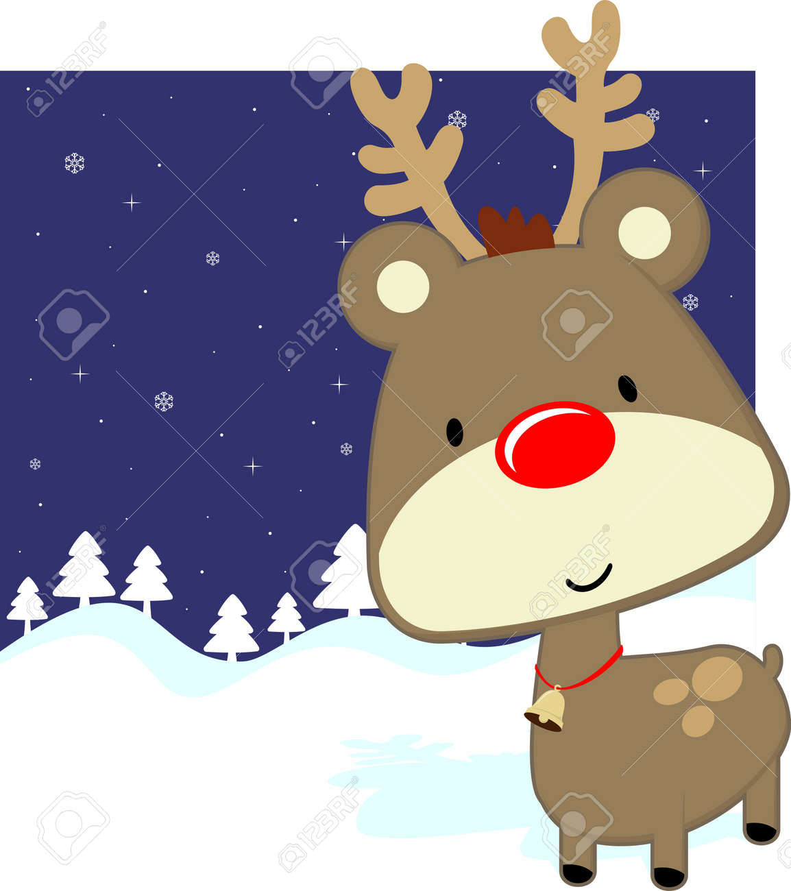 cute baby deer with red nose on winter background, vector format very easy to edit Stock Vector - 15834135