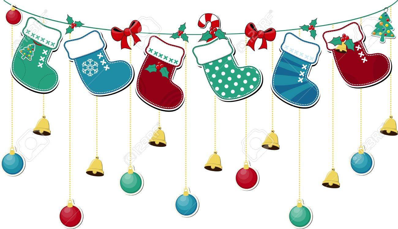 cute christmas socks with ornaments, in vector format very easy to edit, individual objects Stock Vector - 15952067