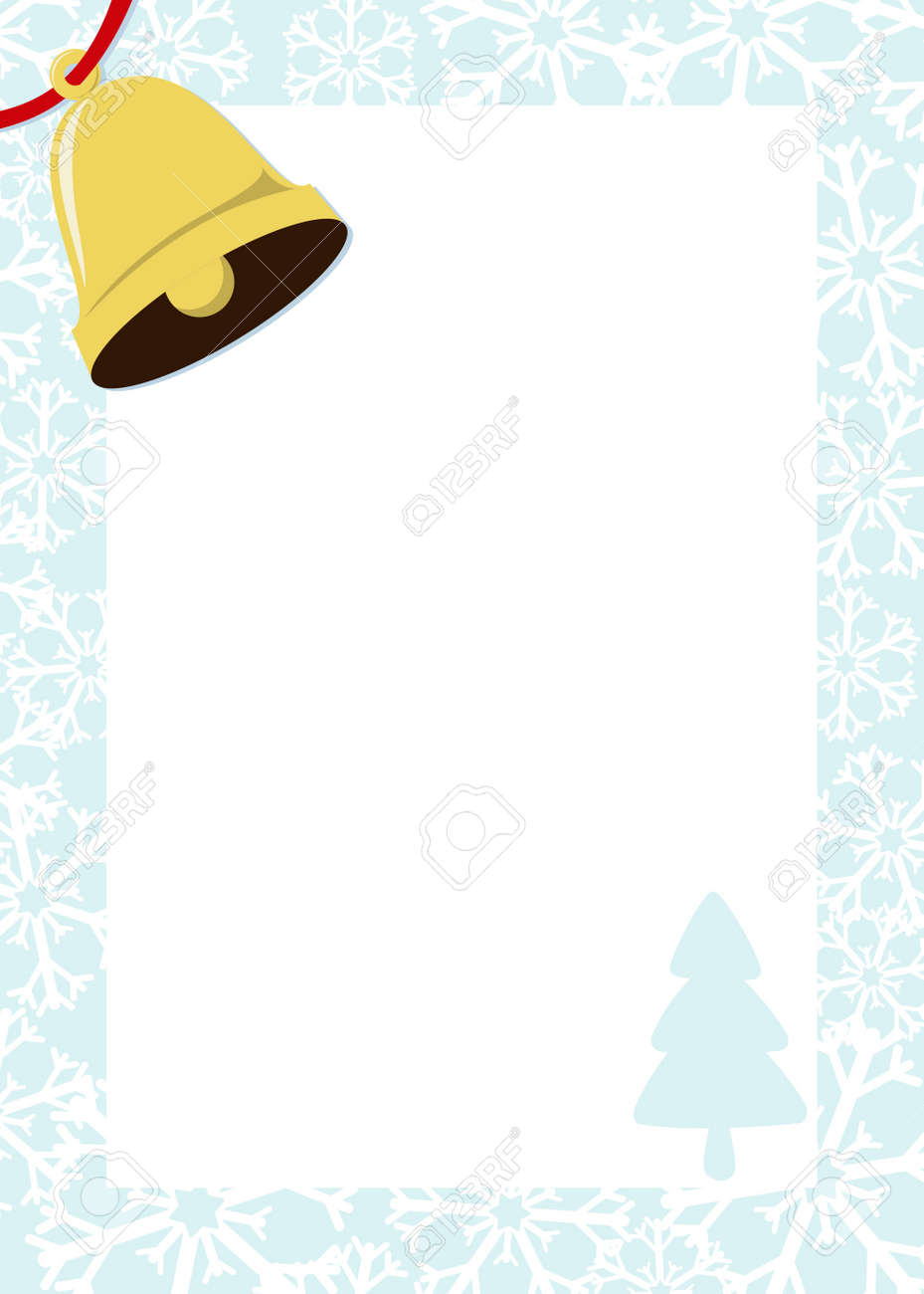 christmas frame with golden bell and white background for your