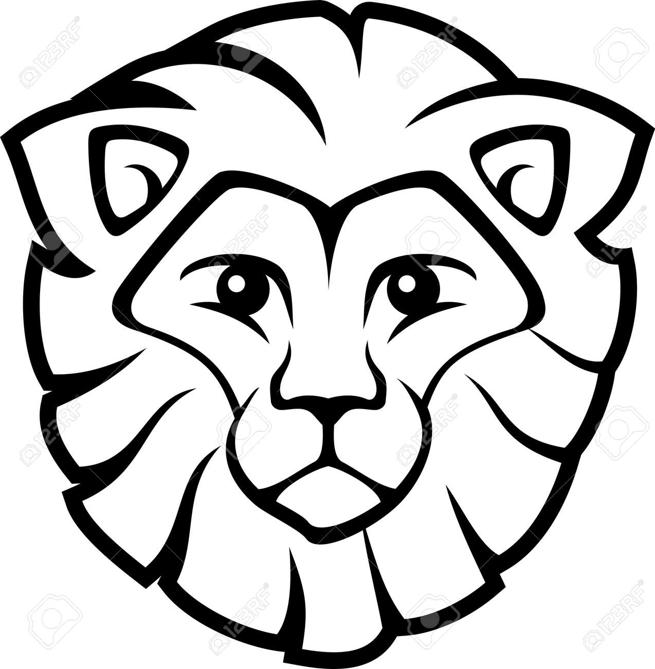 Vector - lion head isolated on Easy Lion Head Stencil