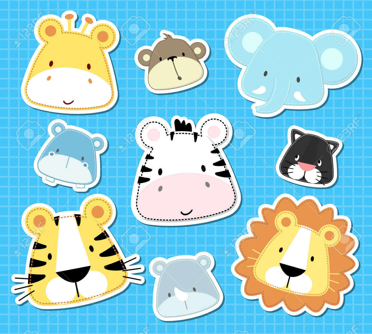 set of cute baby safari animals heads, in vector format very easy to edit, individual objects - 19547937