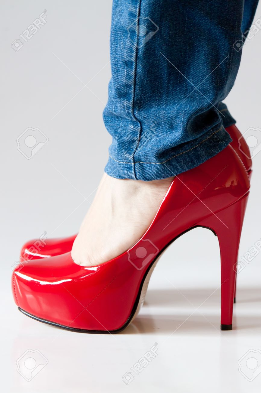 Red Shiny Heels - Is Heel