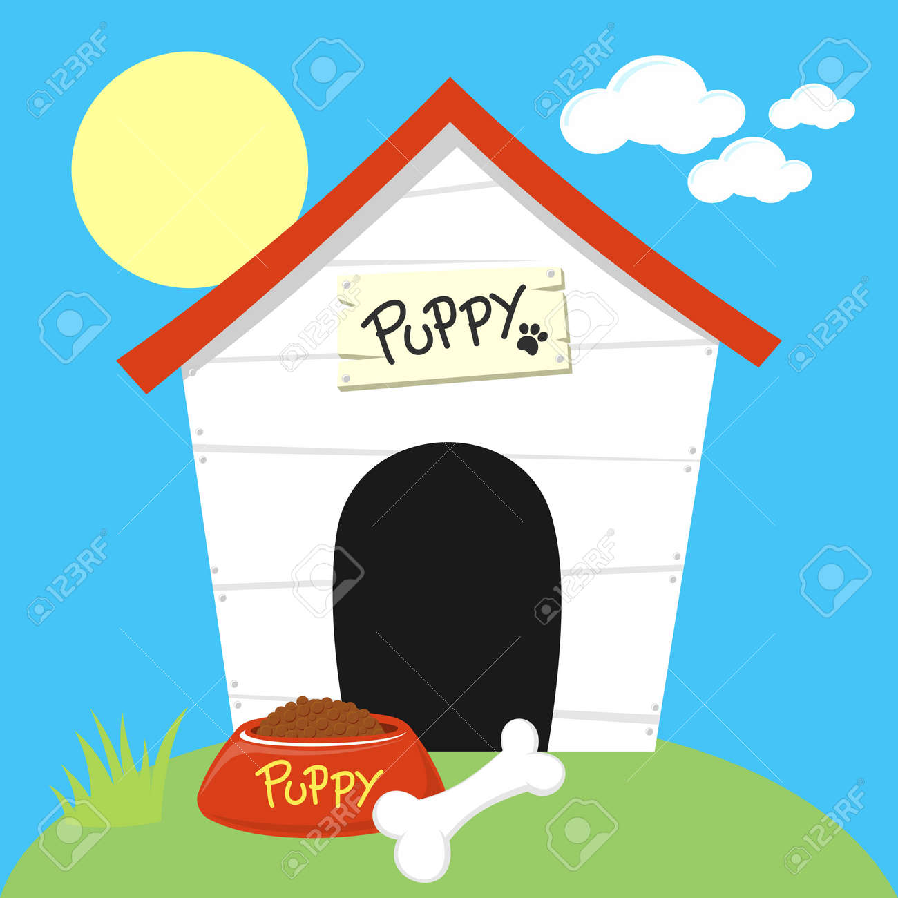 cute dog house with dog food bowl and bone royalty free cliparts rh 123rf com  dog house clipart images