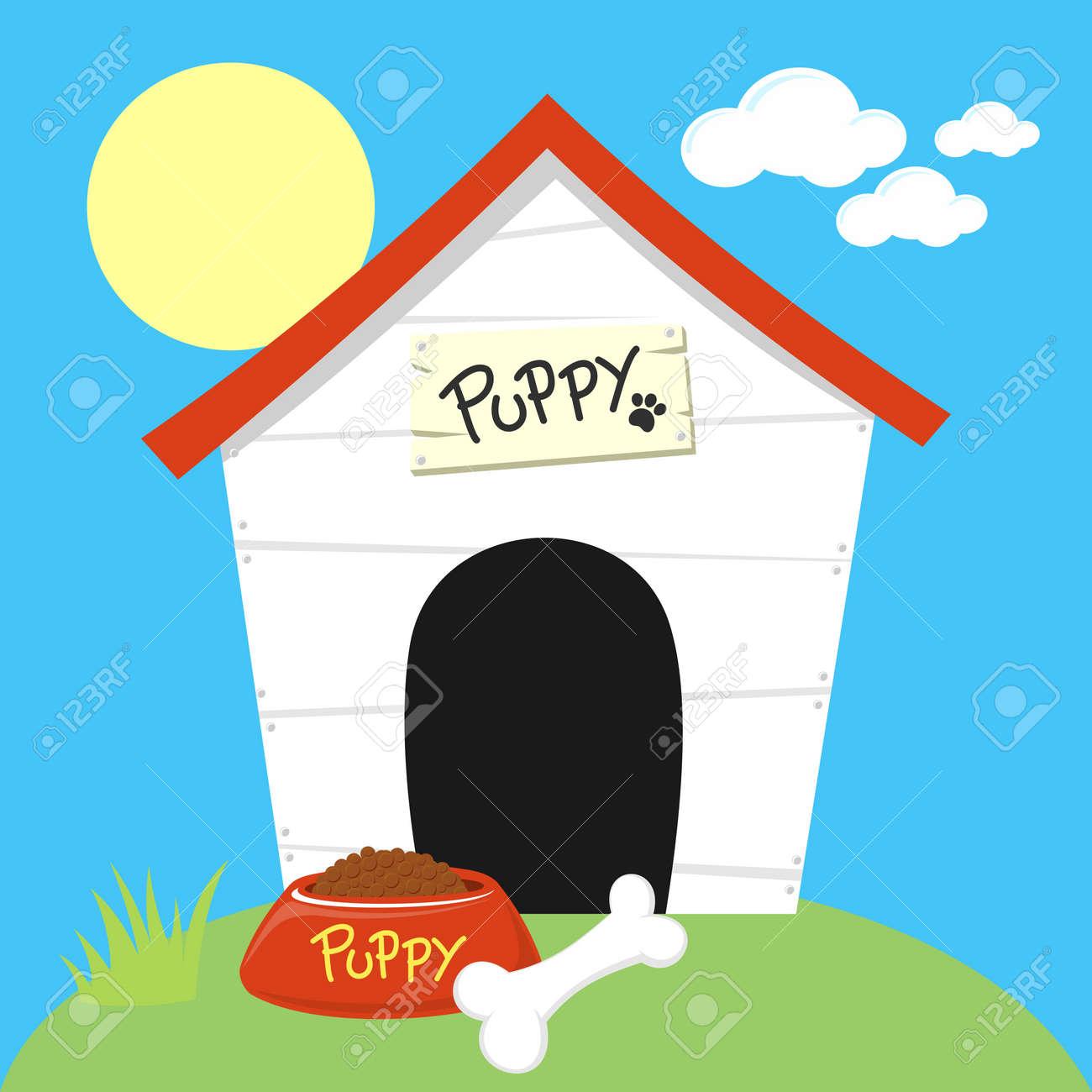 cute dog house with dog food bowl and bone royalty free cliparts rh 123rf com dog house clip art free dog house clip art free