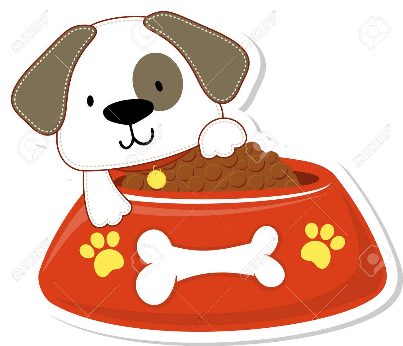 Ilustración De Dibujos Animados De La Adorable Perrito Con Un Tazón