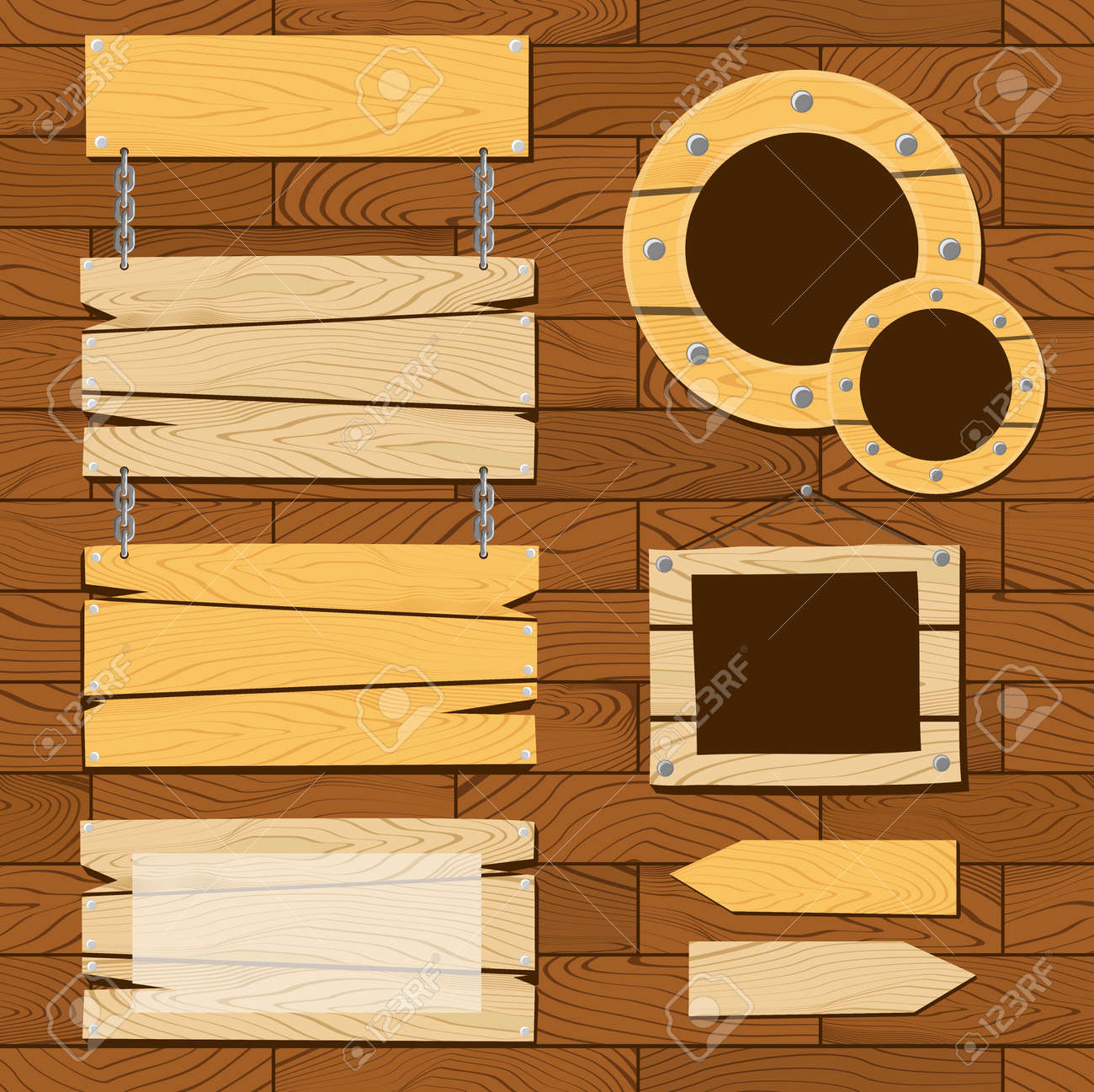 Wood frames set free vector - Set Of Signboards And Wooden Frames On On Seamless Flooring Pattern Useful For Scrapbooking Projects