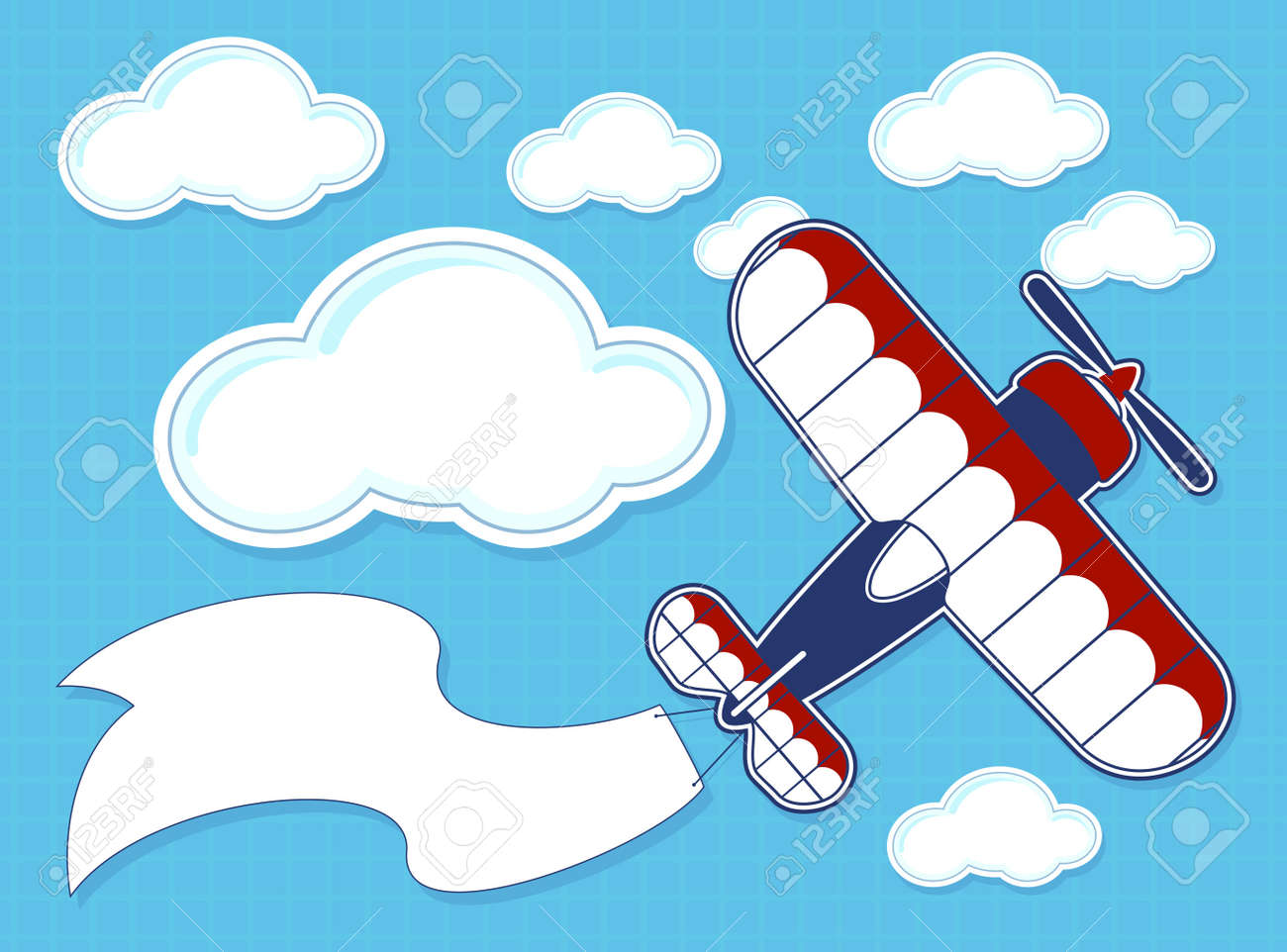 funny airplane cartoon with blank banner on blue background and