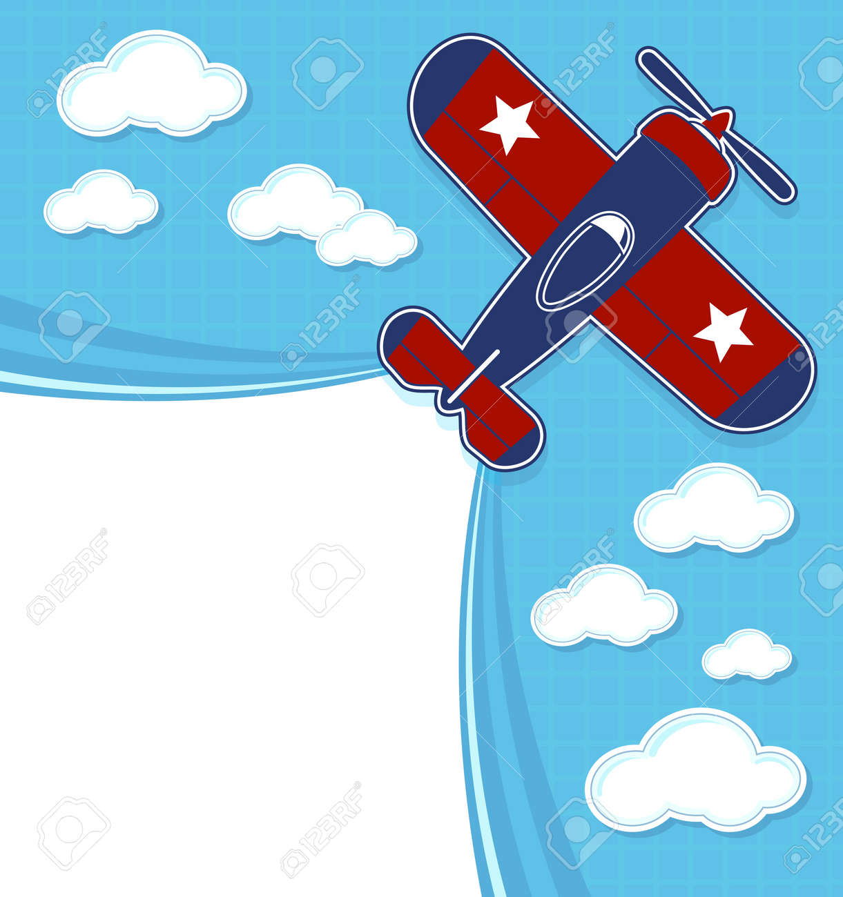 funny airplane cartoon with blank contrail for copy space on
