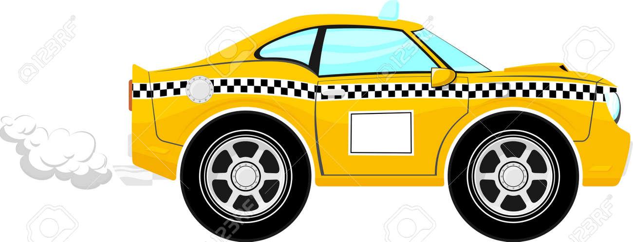 Dessin Animé De Voiture De Taxi Isolé Sur Fond Blanc Seules Les