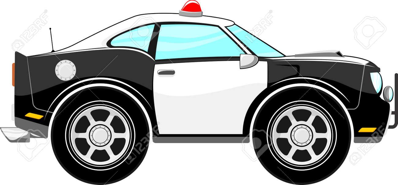 Dessin Animé De Voiture De Police Isolé Sur Fond Blanc