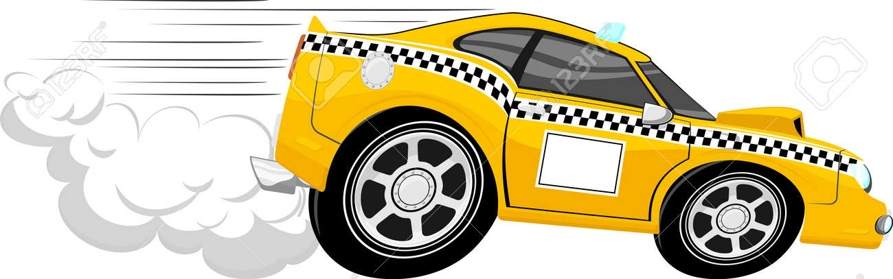 Going Fast Cartoon Funny Fast Taxi Car Cartoon