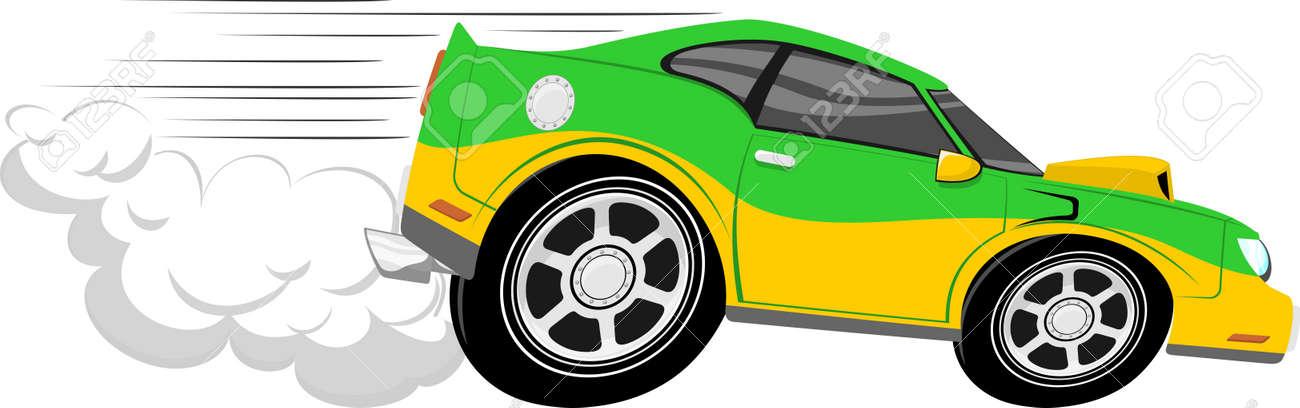banque dimages dessin anim de voiture de course isole sur fond blanc - Voiture De Course Dessin Anim