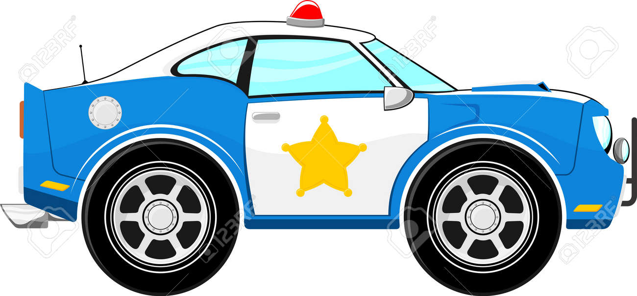 funny blue police car cartoon isolated on white background royalty rh 123rf com clip art police cars with flashing lights free clipart of police cars