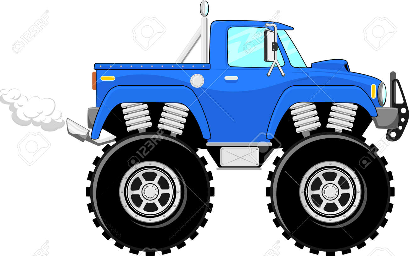 Monster Truck 4x4 Dessin Isole Sur Fond Blanc Banque D Images Et Photos Libres De Droits Image 20358722