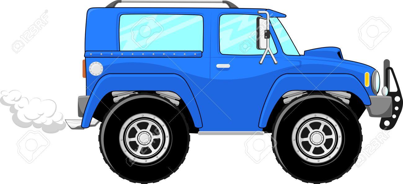 Illustration Of Blue Truck Cartoon Isolated On White Background