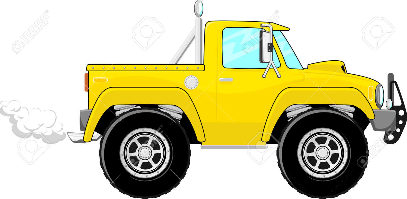 illustration of yellow pickup truck cartoon isolated on white