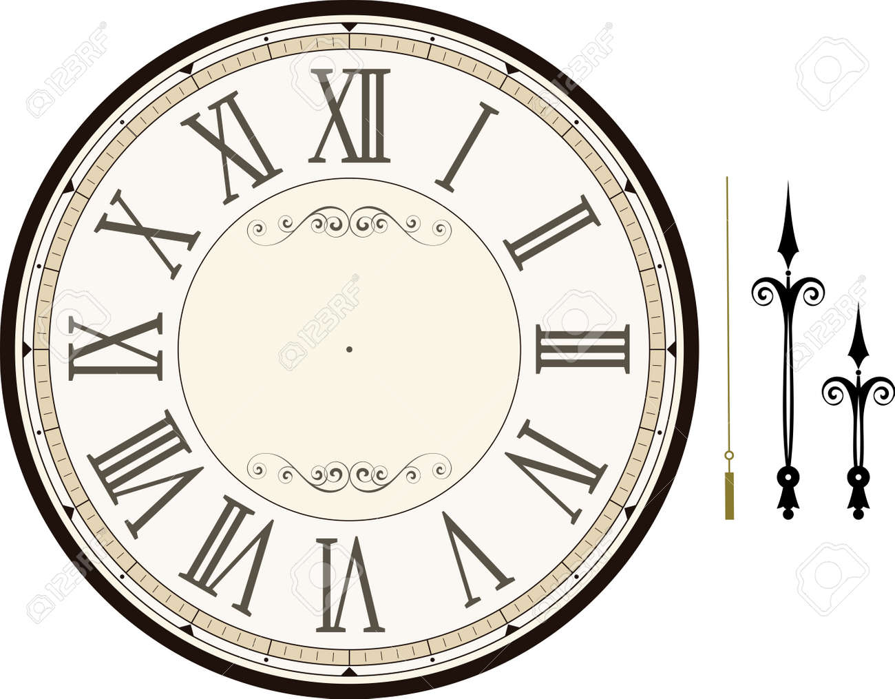 vintage clock face template with hour, minute and second hands