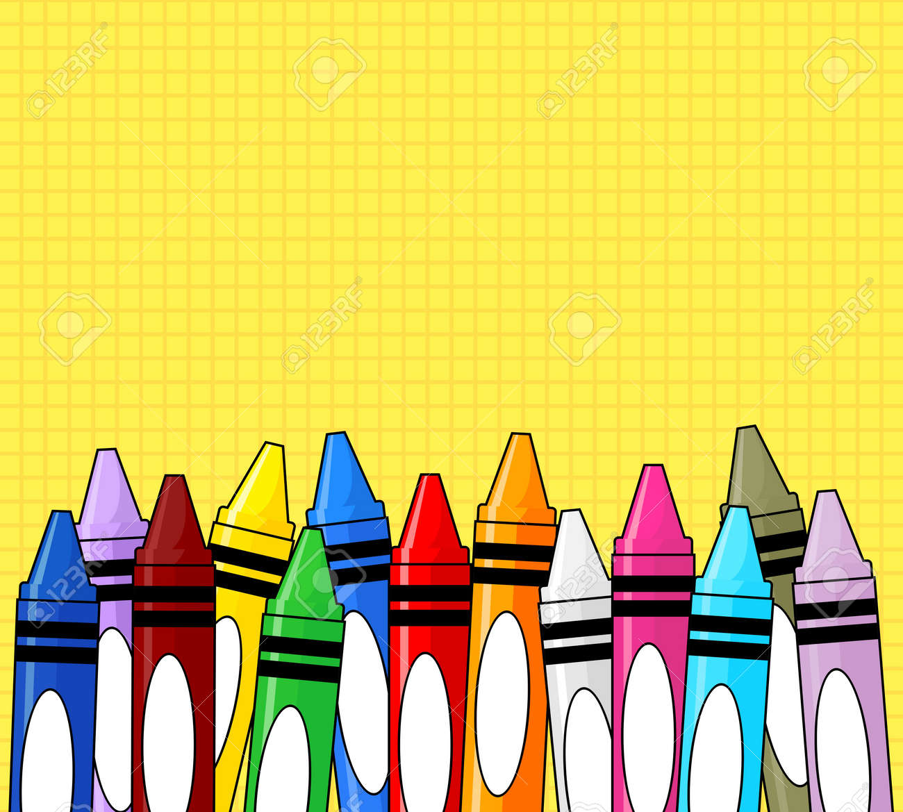 Varios Lápices De Colores Marco De Cuadrícula De Fondo Amarillo ...