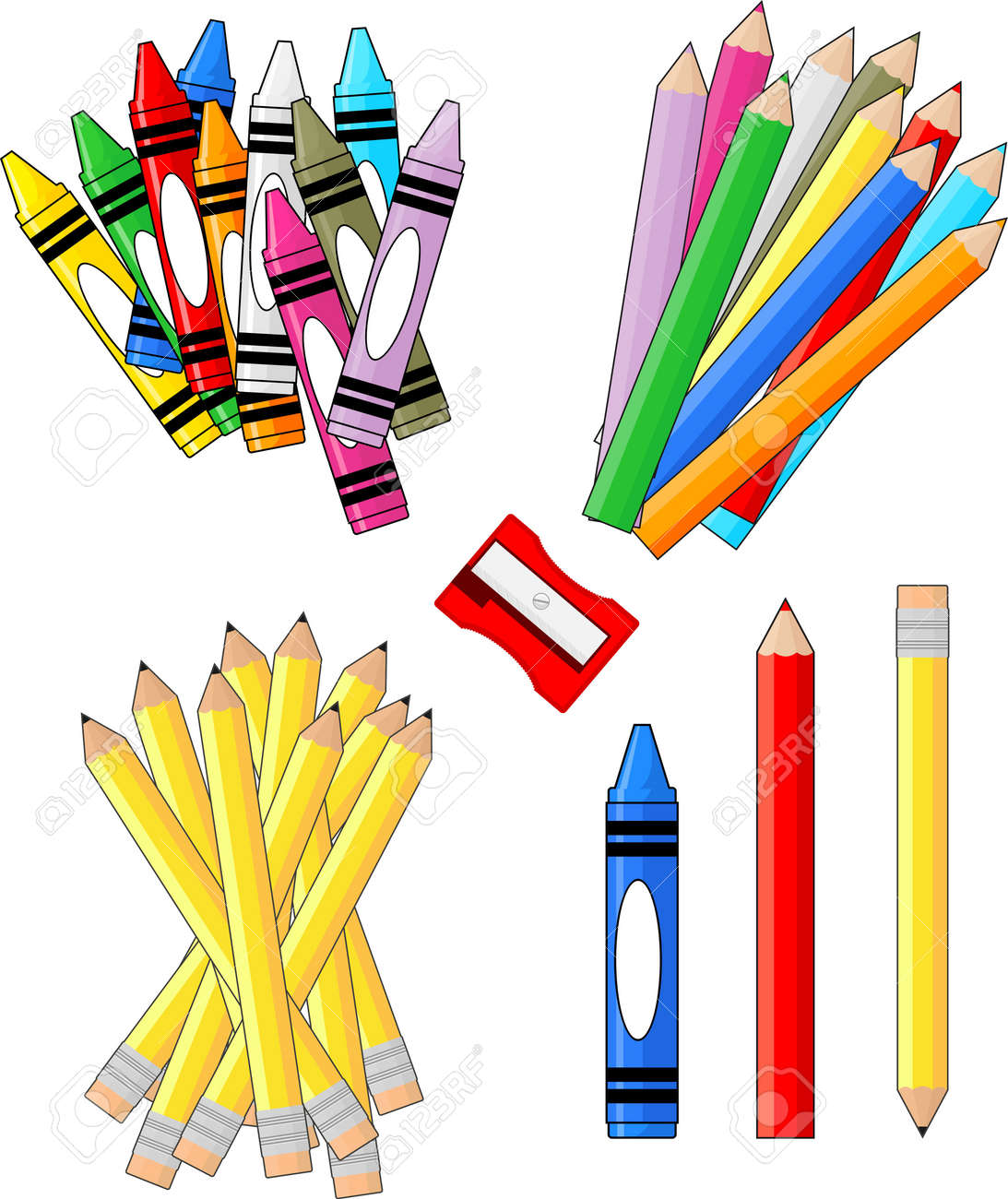 school supplies groups clip art isolated on white background rh 123rf com free clipart of school supplies free clipart images of school supplies