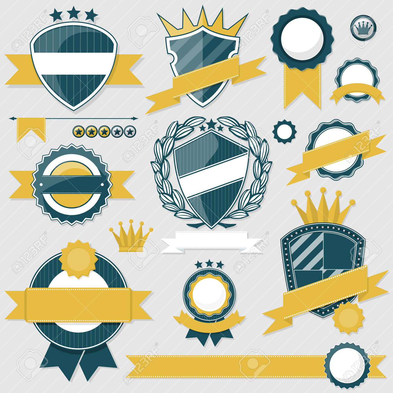 emblem blank labels and ribbons collection for your designs, in vector format very easy to edit, individual objects, solid colors, no gradients Stock Vector - 21030971