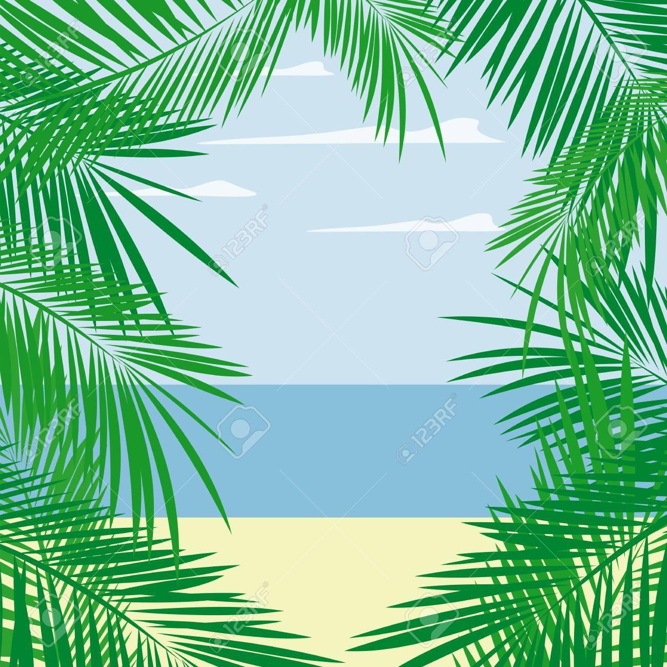 Palmenblättern Framing Strand Und Meer Landschaft, Vektor-Format ...