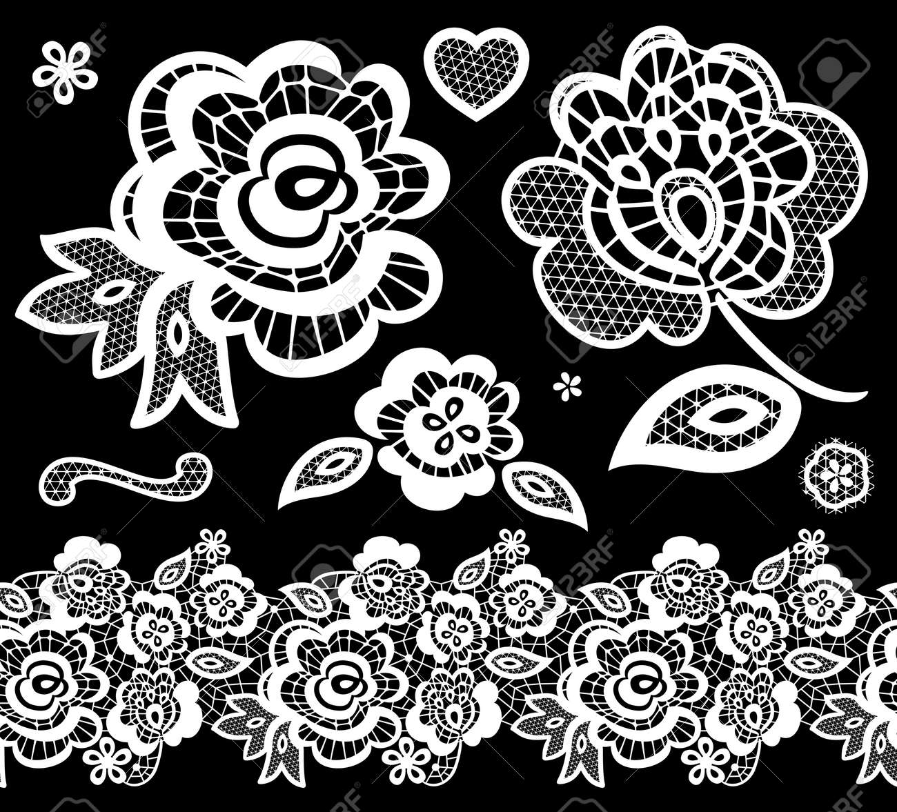 Lace Embroidery Design Elements With Abstract Flowers On Black ...