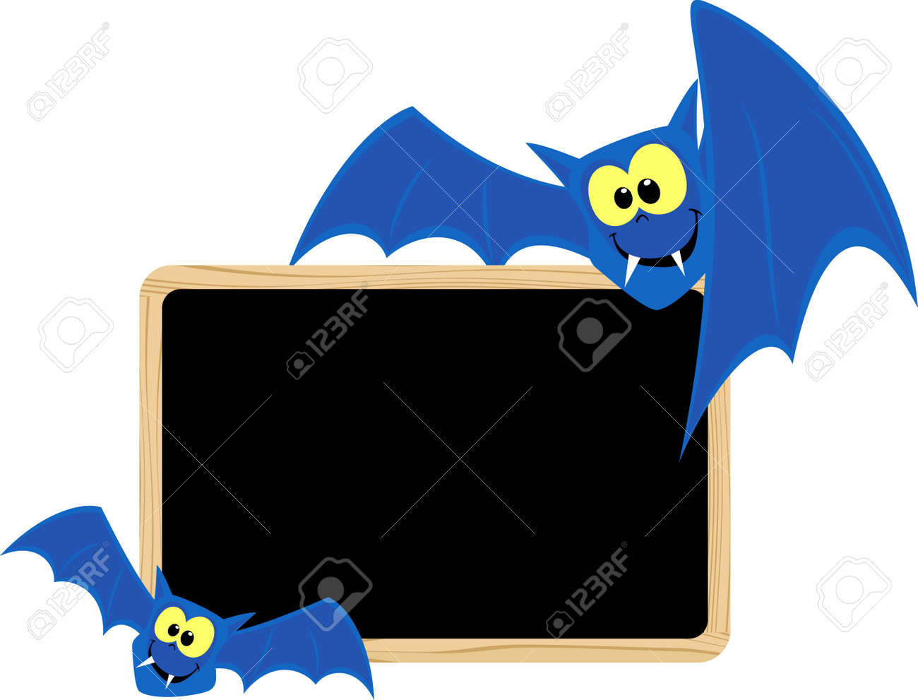 funny bats with blank signboard for halloween themes isolated