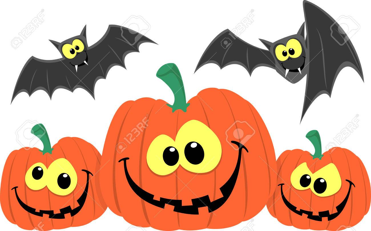funny pumpkins and bats cartoon isolated on white background royalty rh 123rf com cartoon pumpkin ideas cartoon pumpkin images black background