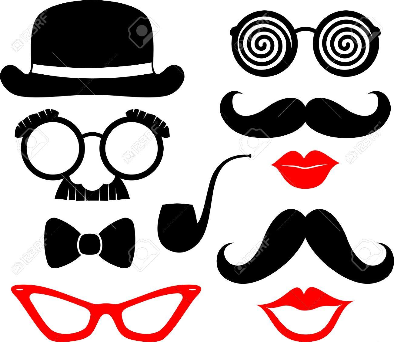 mostachos conjunto de bigotes, labios y gafas siluetas y elementos de diseño para apoyos