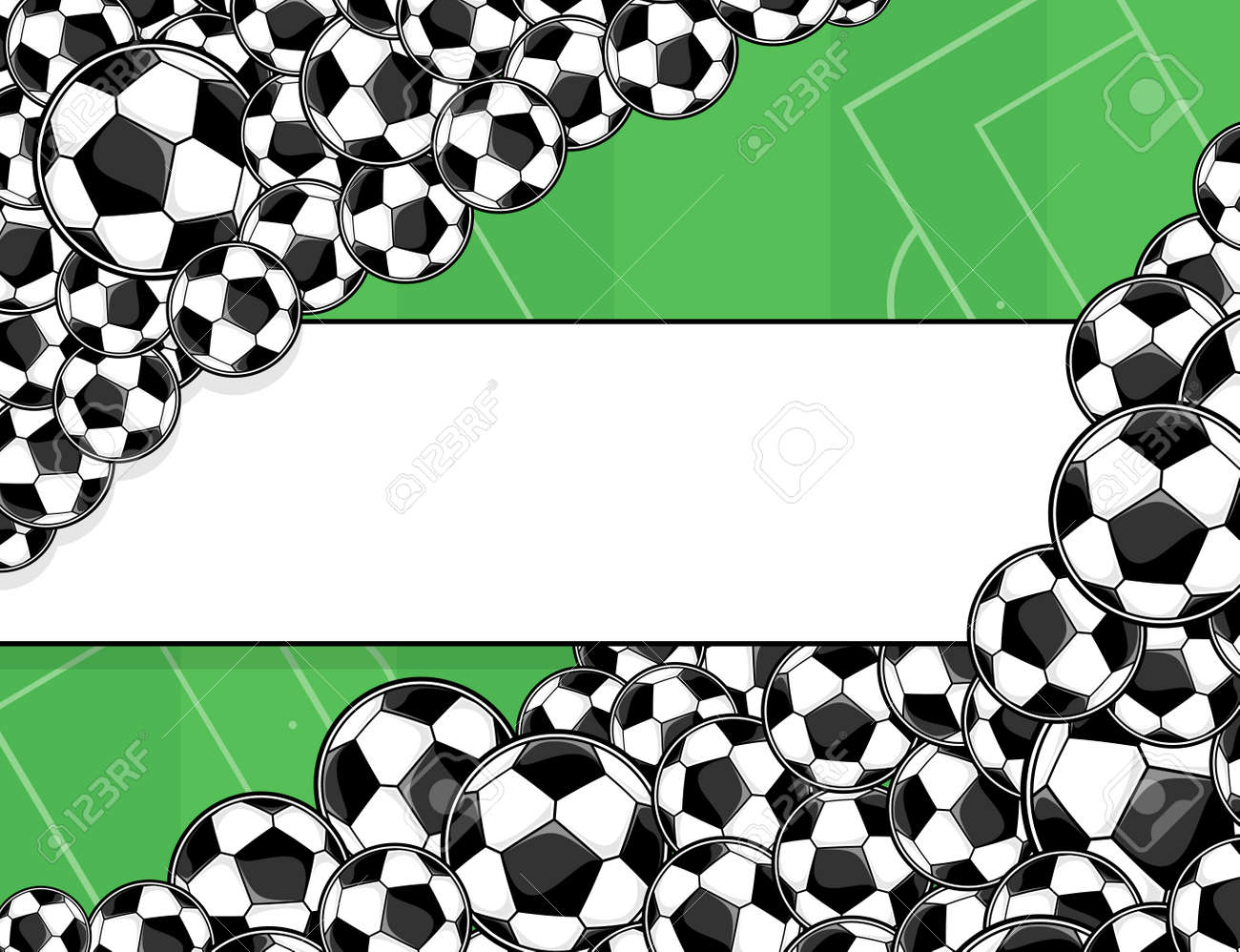 Soccer Balls Border On Green Playing Field Background Royalty Free Cliparts Vectors And Stock Illustration Image 29671948