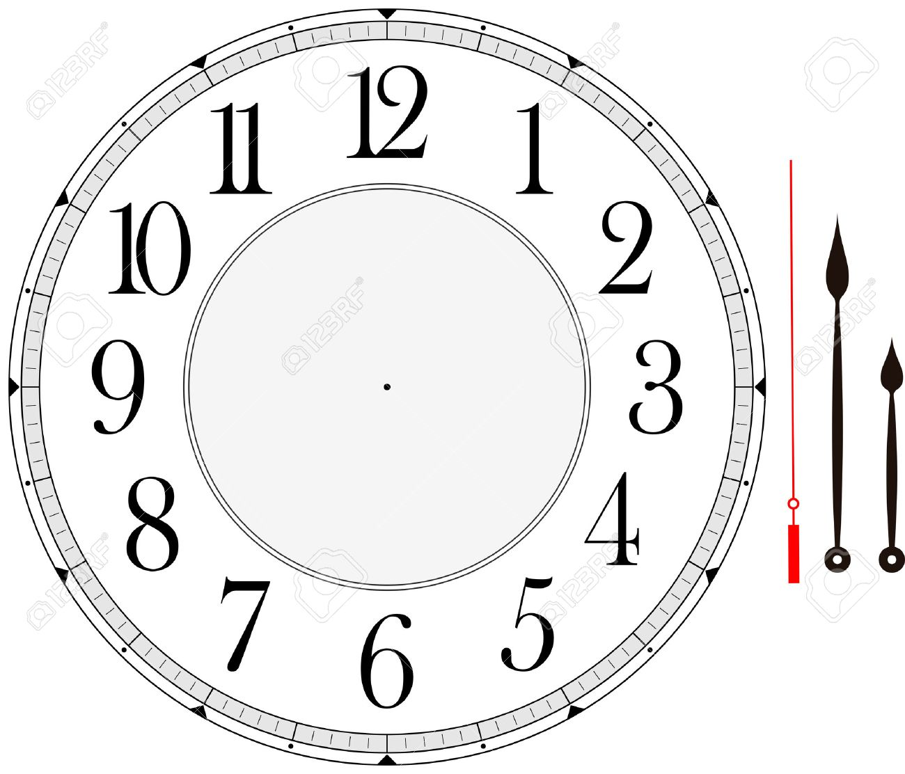 Clock Face Template With Hour Minute And Second Hands To Make