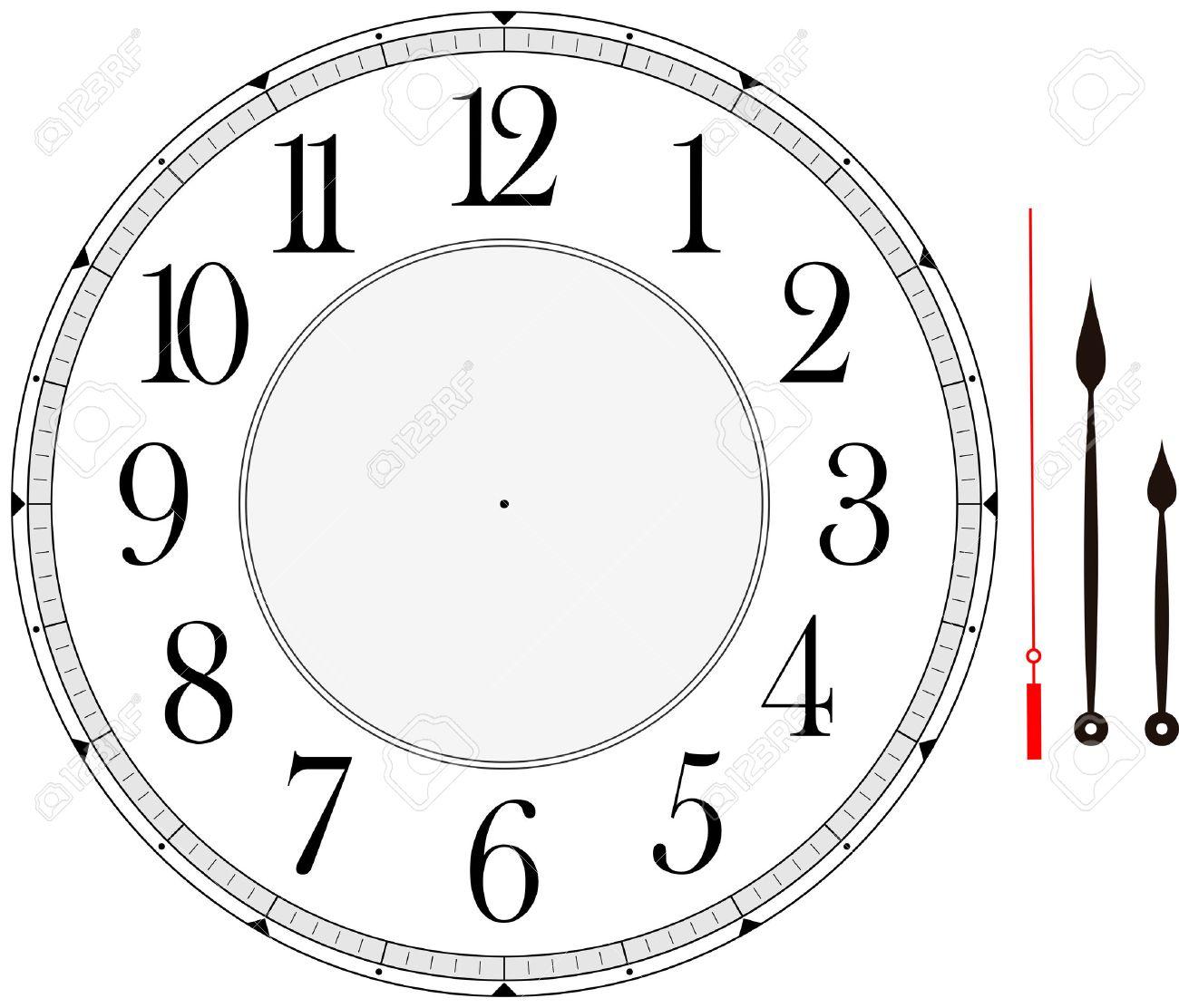 Zifferblatt Vorlage Mit Stunden-, Minuten- Und Sekundenzeiger, Um ...