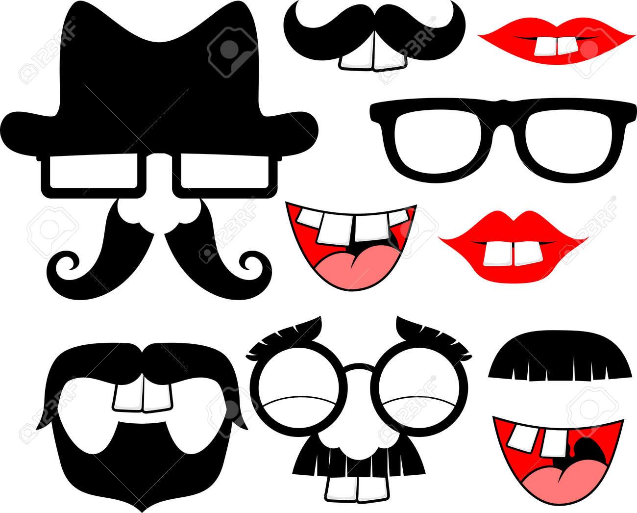黒の口ひげと面白いパーティーの小道具の白い背景で隔離のための大きな
